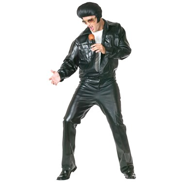Elvis Black Leather Suit  Adult Costume