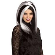 Sinister Stripes White/Black Adult Wig