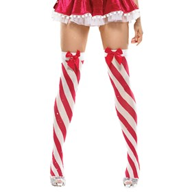 Candy Cane Stripe Thigh Highs with Satin Bow