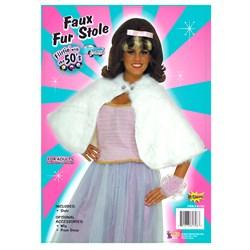 White Faux Fur Stole Adult