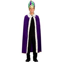 Mardi Gras King Robe Crown Adult Costume Kit