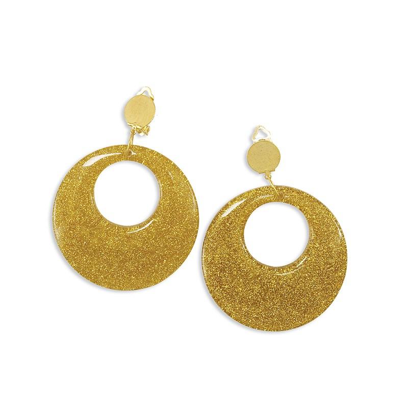Gold Glitter Earrings for the 2015 Costume season.