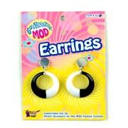 Mod Black and White Hoop Earrings