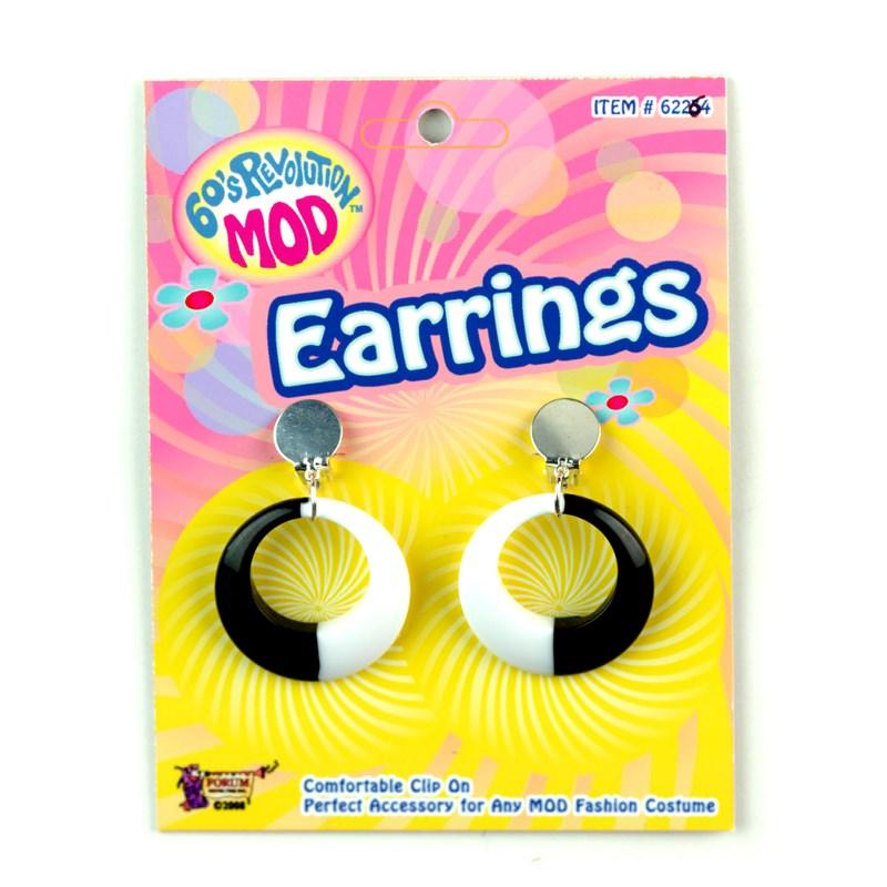 Mod Black and White Hoop Earrings for the 2015 Costume season.