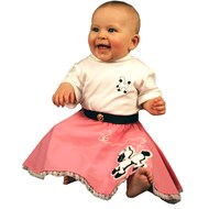 Poodle Skirt and Onesie White/Pink Infant Costume