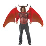 Deluxe Demon Wings and Chest Piece Adult Costume Kit - Red