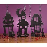 Haunted House Silhouettes Glitter Centerpiece