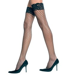 Diamond Net Lycra Thigh High with Lace Top (Red) Adult