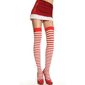 Striped Thigh High (Red and White) Adult