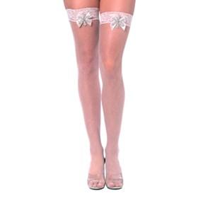 Bjou White Fishnet Thigh High Stockings-Adult