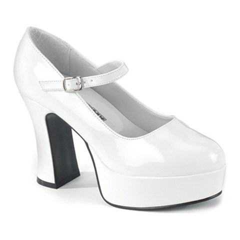 Mary Jane (White) Adult Shoes - Wide Width