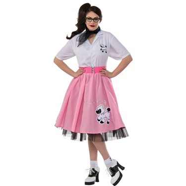 50s Poodle Black And White Adult Costume