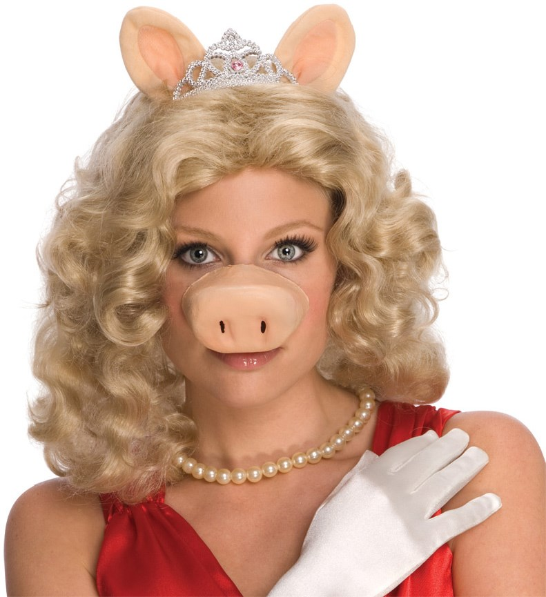 The Muppets Miss Piggy Wig w/Ears Tiara Adult Costume