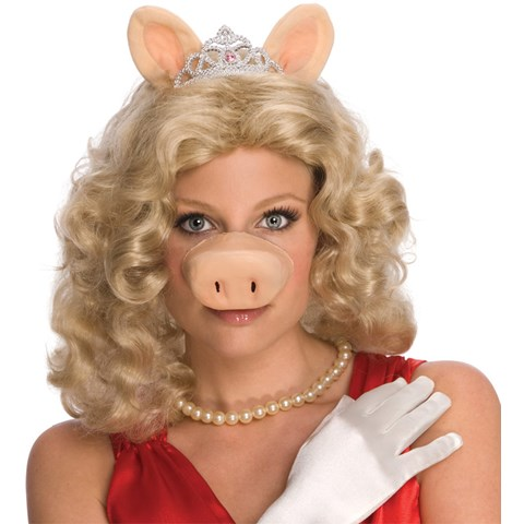 The Muppets Miss Piggy Wig w/Ears & Tiara Adult Costume