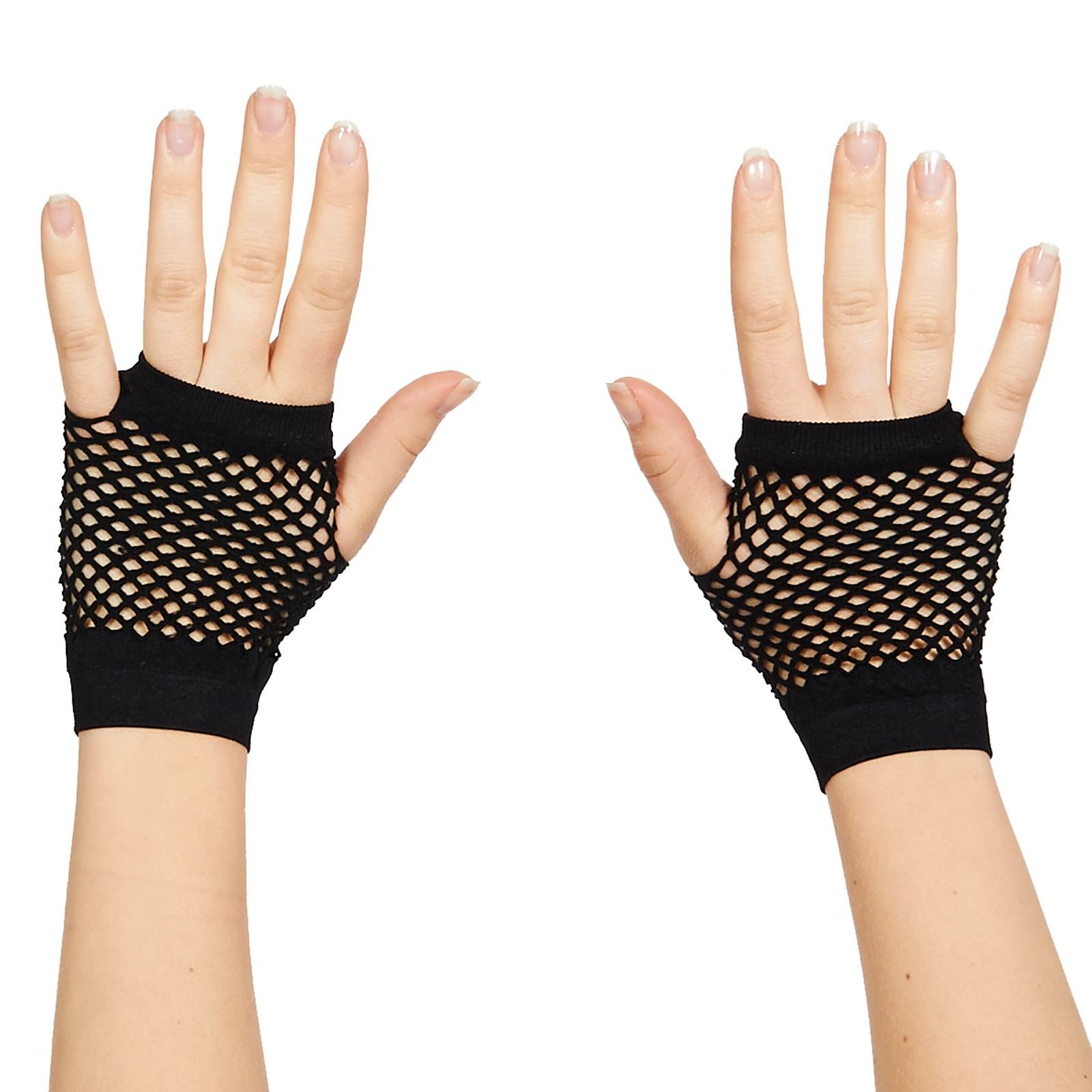 Image of 80's Black Short Fishnet Adult Gloves