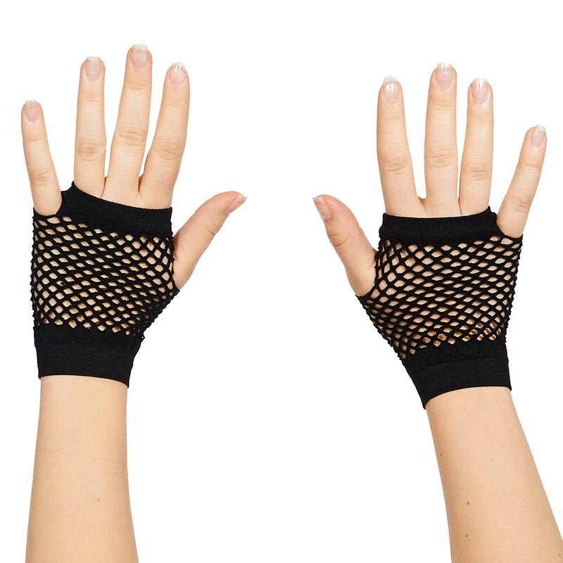 80's Black Short Fishnet Adult Gloves
