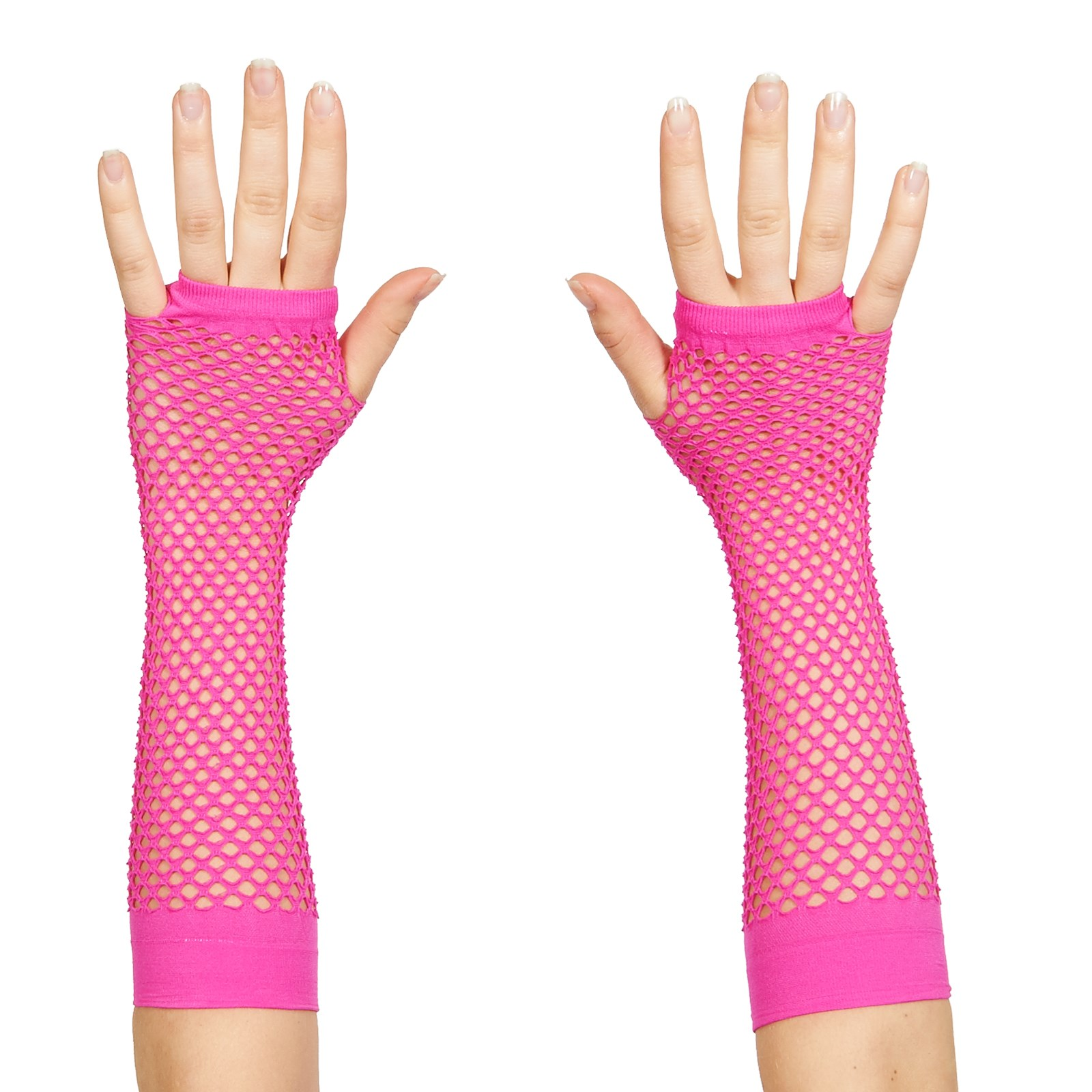 Image of 80's Neon Pink Long Fishnet Adult Gloves