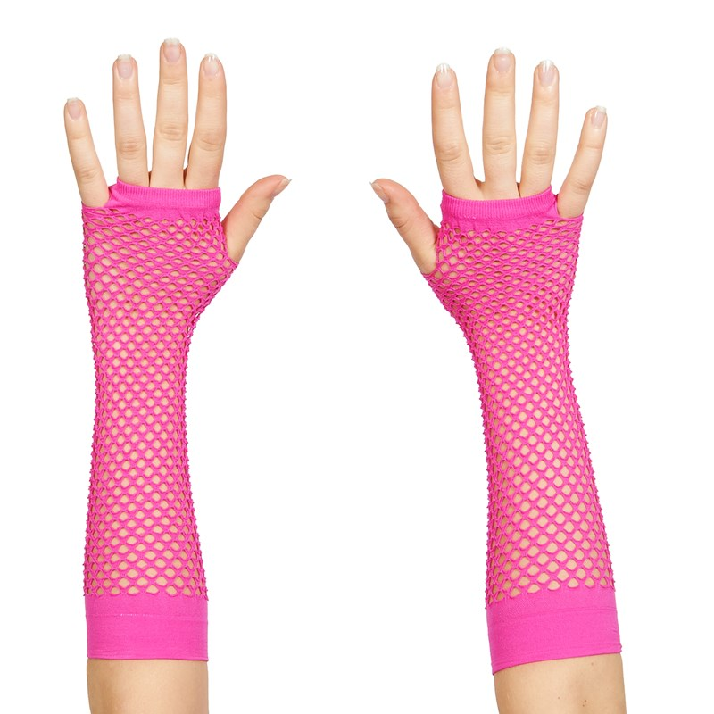 80s Neon Pink Long Fishnet Adult Gloves for the 2015 Costume season.