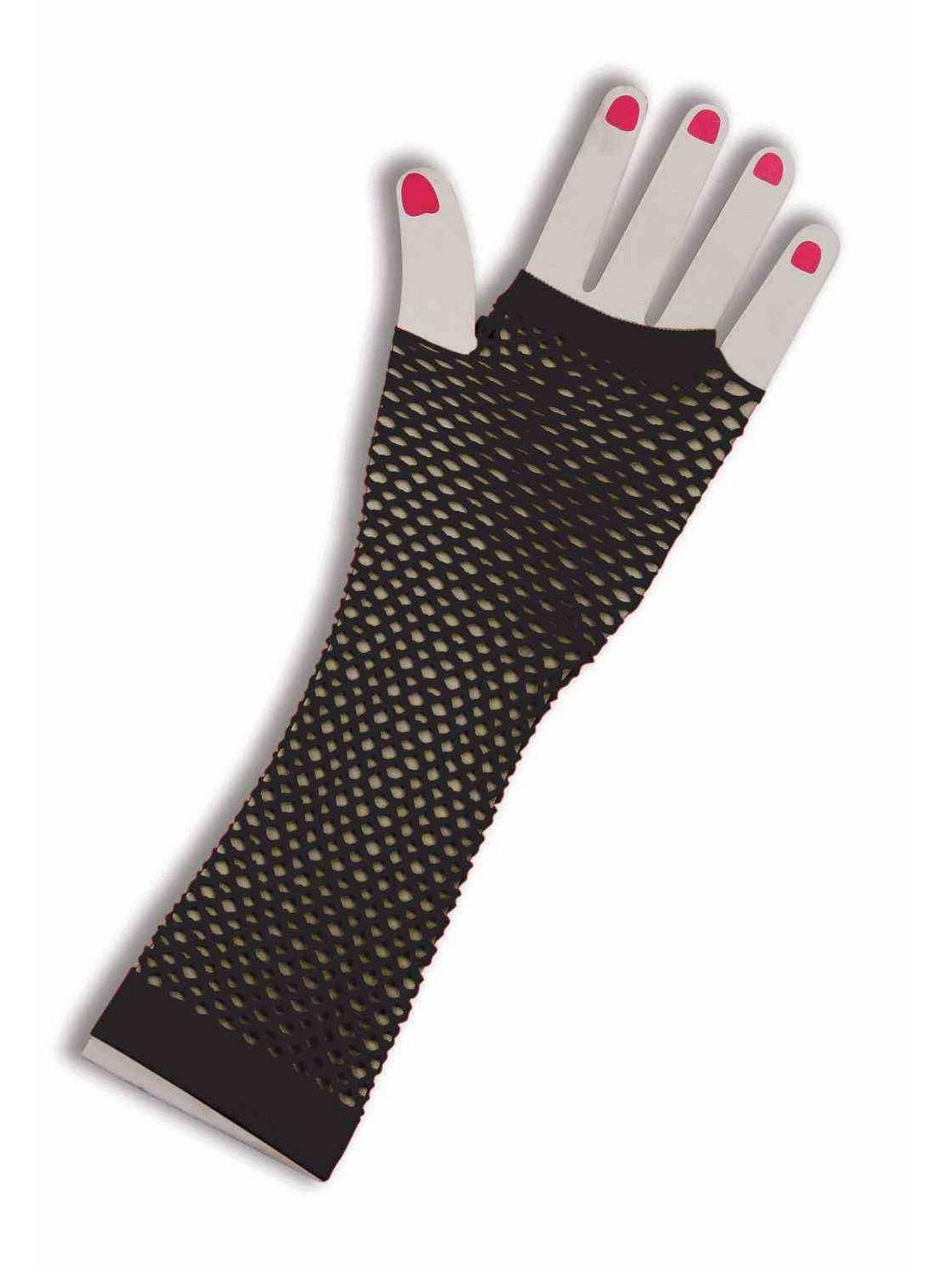 Image of 80's Black Long Fishnet Adult Gloves