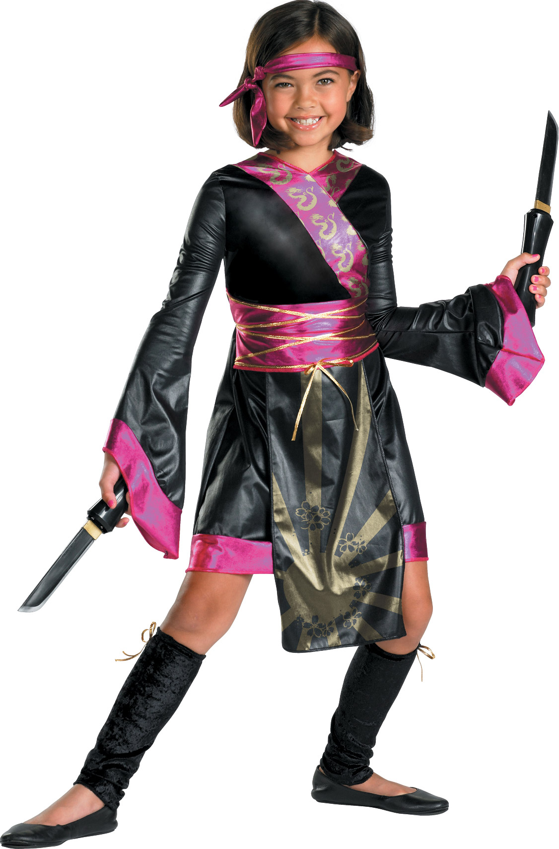 Disguise Adult Dragon Ninja Child Costume- Black/Pink: Small (4-6X)