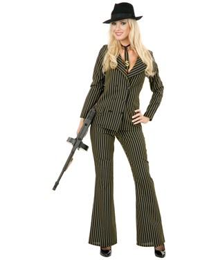 Gangster Moll 6 Button Double Breasted Black/White Adult Plus Costume