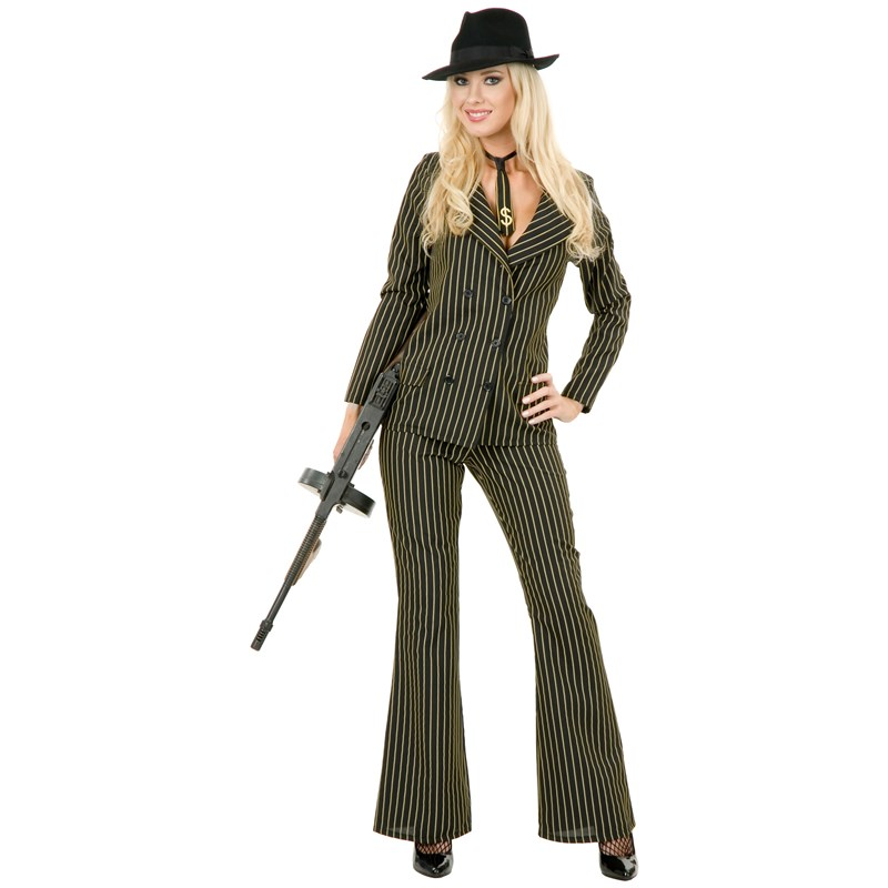 Gangster Moll 6 Button Double Breasted (Black and White) Adult Plus Costume for the 2015 Costume season.