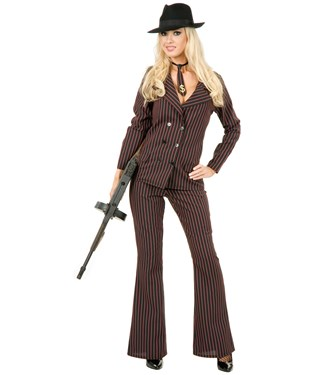 Gangster Moll 6 Button Double Breasted Black/Pink Adult Costume
