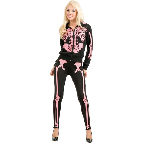 Ladies Skeleton Hoodie Sweatshirt (Pink) Adult