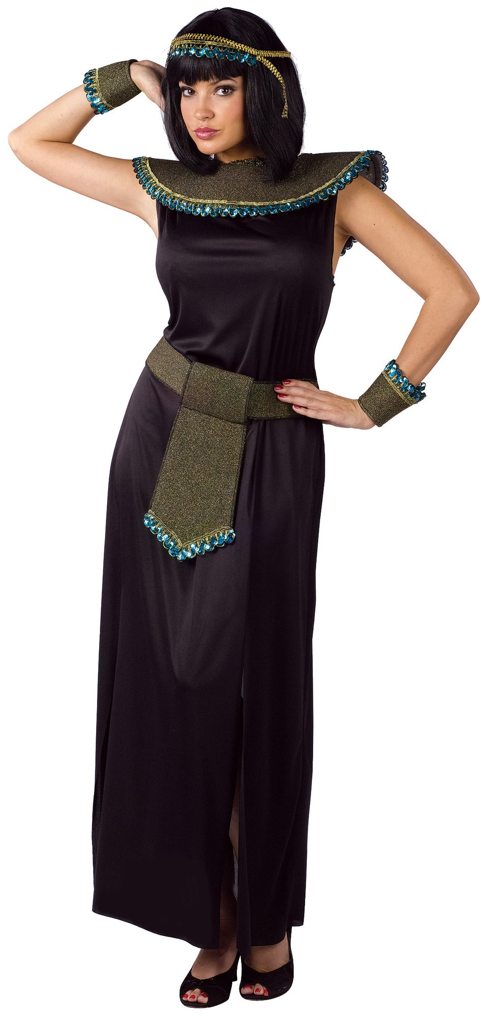 Image of Black/Gold Cleopatra Adult Costume
