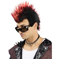 Faux-Hawk Black with Red Wig