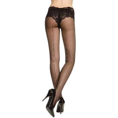 Sheer Pantyhose With Rhinestone Back Seam (Black) - Adult