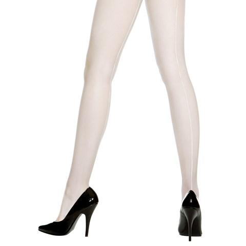 Sheer Backseam Pantyhose (White) - Adult