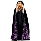 "63"" Deluxe Cape Black Velvet W/ Purple satin lining"