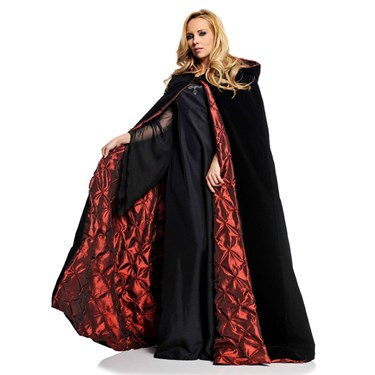 "63"" Deluxe Cape Black Velvet W/ Red Satin lining"