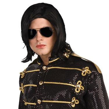 Michael Jackson Adult Long Straight Wig w/ Glasses
