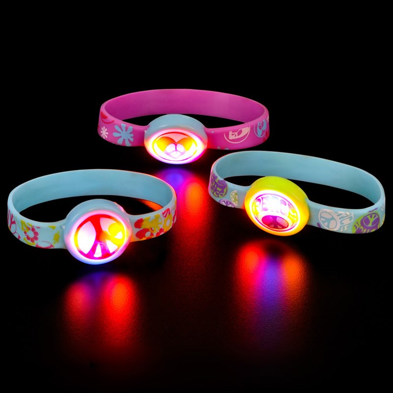 Light up Peace Sign Bracelet Asst. (1 count) for the 2015 Costume season.