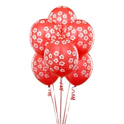 Red with White Hibiscus Flowers 11 Matte Balloons (6 count)