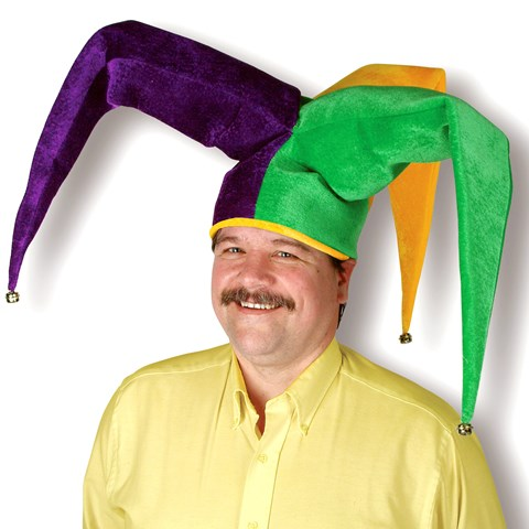 Mardi Gras Plush Floppy Jester Hat