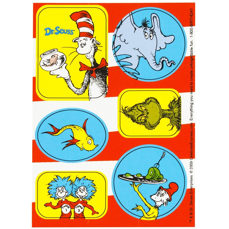 Dr. Seuss Sticker Sheets (4 sheets) for the 2015 Costume season.