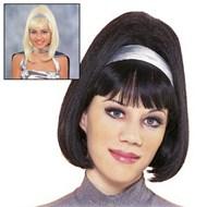 Go-Go Gal Wig w/ Silver Lame Headband Black