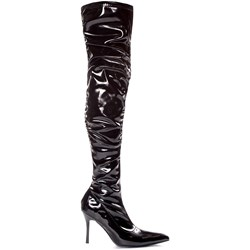 Lala Ruched Thigh High Boots (Black Patent) Adult