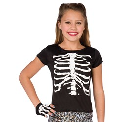 White Skeleton Babydoll Tee Child Costume