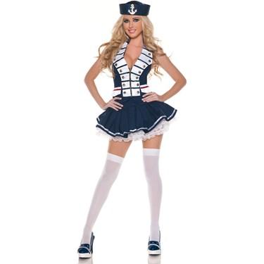 White Navy Stripes Sailor Adult Costume