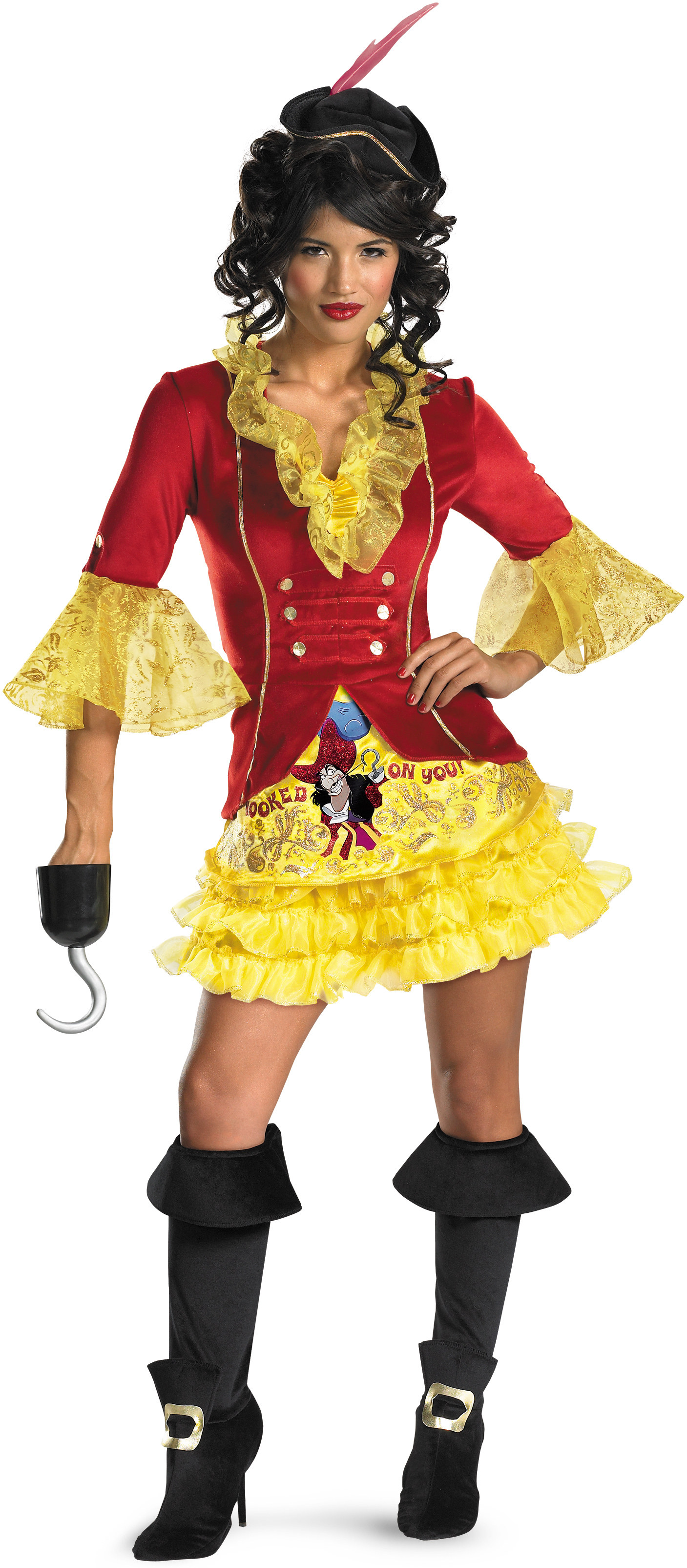Disney Adult Sexy Captain Hook Adult Costume- Yellow: Small (4-6)