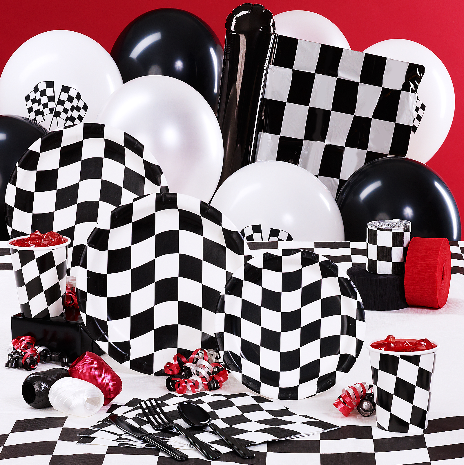 Black and White Check Deluxe Party Kit