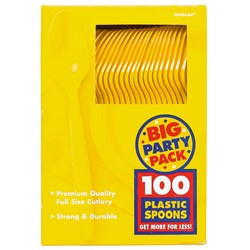 Yellow Sunshine Big Party Pack - Spoons (100 count)