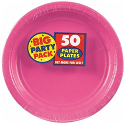 Bright Pink Big Party Pack - Dessert Plates (50 count)