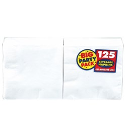 Frosty White Big Party Pack - Beverage Napkins (125 count)