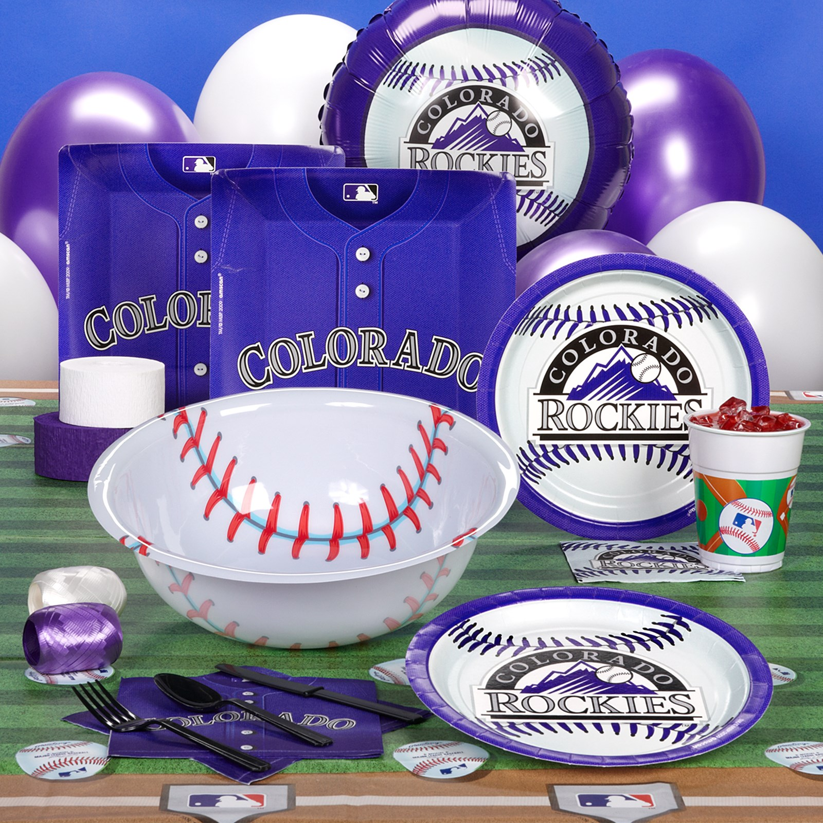 Image of Colorado Rockies Baseball Deluxe Party Kit