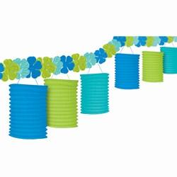 Floral Paradise Blue, Green, Turquoise Lantern Garland